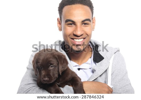 Beautiful man with dog