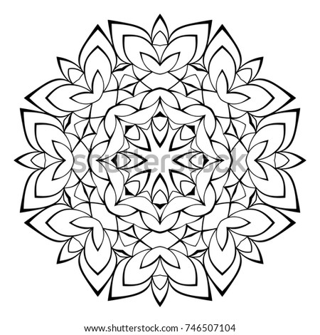 Contour Mandala Color Book Monochrome Illustration Stock Color Book Pictures
