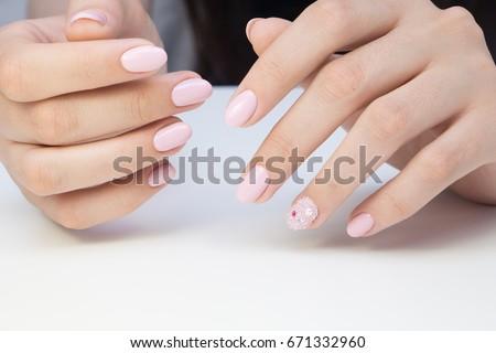 Beautiful Manicure Nail Art Natural Nails Stock Photo (Royalty Free ...