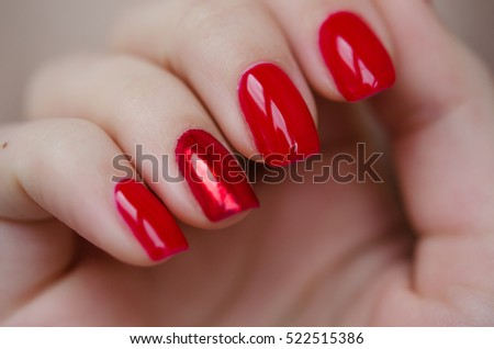 Beautiful Manicure Nails Bright Red Design With Slightly Different Ginger Finger