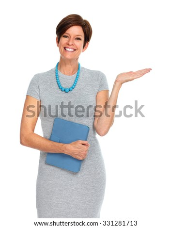 Beautiful mature business woman isolated over white background.