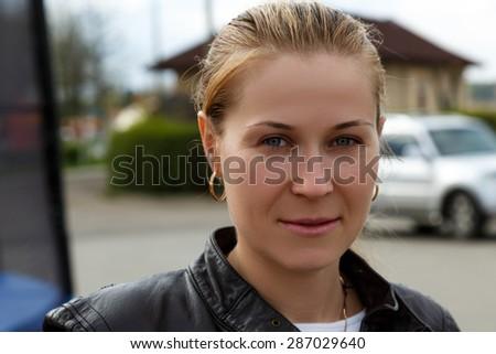 Beautiful mature caucasian woman portrait outdoor.  - stock photo