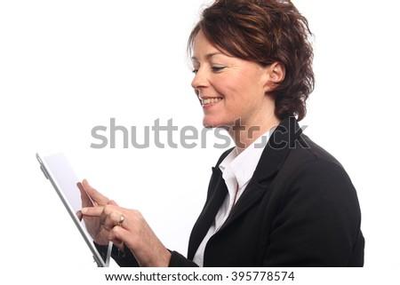 Beautiful mature woman posing - stock photo