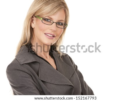 beautiful mature woman wearing business outfit on white background