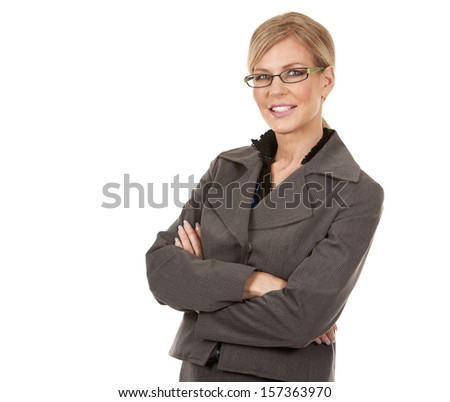 beautiful mature woman wearing business outfit on white background - stock photo