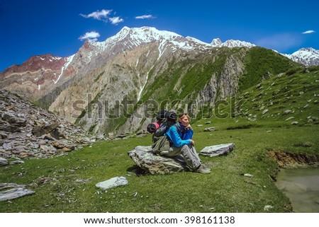 Beautiful meadow near Nanga Parbat base camp in Karakorum - stock photo