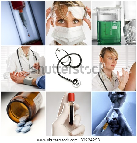 Beautiful medical collage made from nine photographs - stock photo