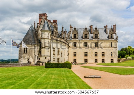 Beautiful medieval castle - Chateau d'Amboise (late 15th century); UNESCO World Heritage Site. Amboise, Indre-et-Loire, Loire Valley, France.