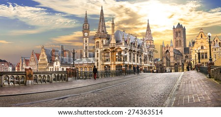 beautiful medieval  Ghent over sunset. Belgium - stock photo