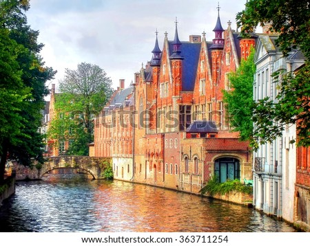 beautiful medieval landmark in the city of Bruges, Belgium - stock photo