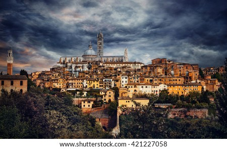 Beautiful medieval town in Tuscany, Siena - stock photo