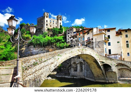 beautiful medieval villages of Italy - Dolceaqua (Liguria) - stock photo