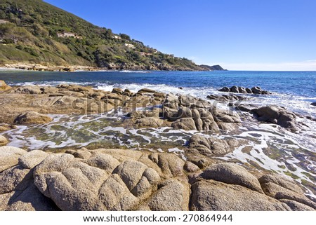 Beautiful Mediterranean Coast, was seen near St. Tropez, South of France. - stock photo