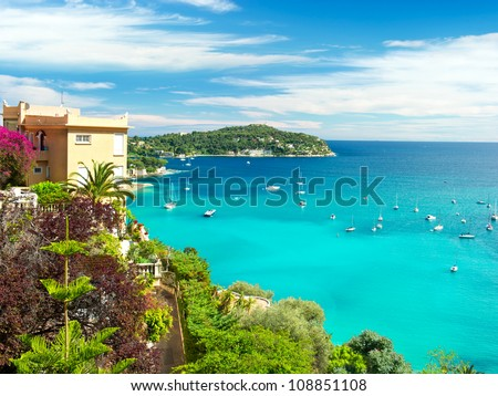 beautiful mediterranean landscape, view of luxury resort and bay, french riviera, France, near Nice and Monaco - stock photo