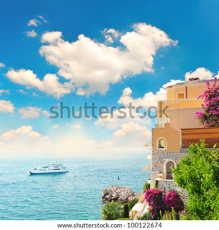 beautiful mediterranean landscape. view of sea and luxury resort of Cote d'Azur in Provence, France - stock photo