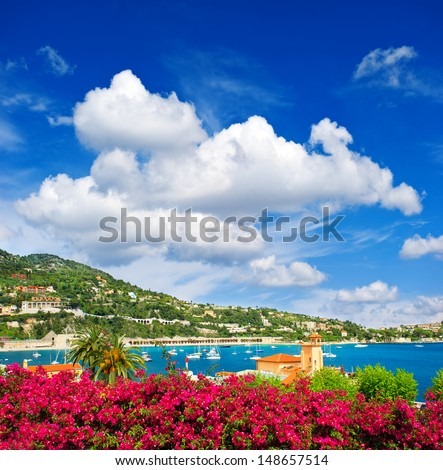 beautiful mediterranean sea landscape with cloudy blue sky. french riviera near Nice and Monaco - stock photo