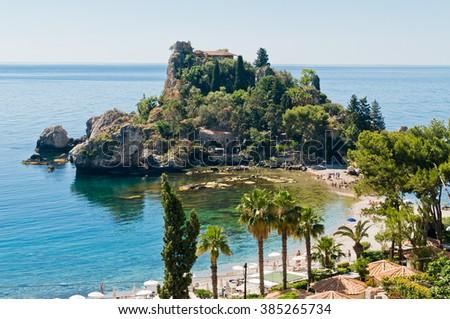 Beautiful mediterranean sunlit sicilian isle on sea - stock photo