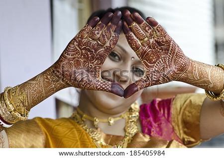Beautiful mehendi design on hand - stock photo