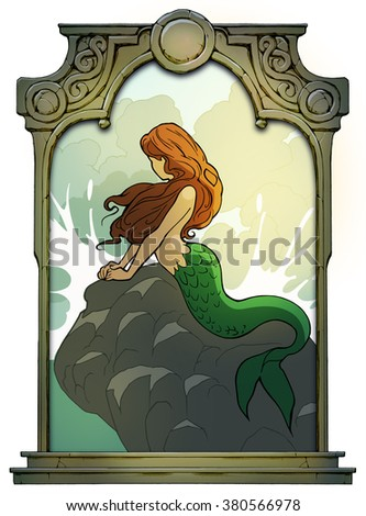 Beautiful mermaid sitting on a rock watching the sea framed with a stone decorated hand drawn arch - stock photo