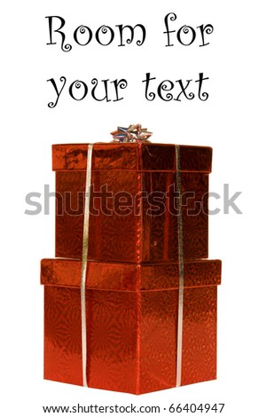 beautiful metalic red gift boxes with silver ribbon and silver bow isolated on white with room for your text - stock photo