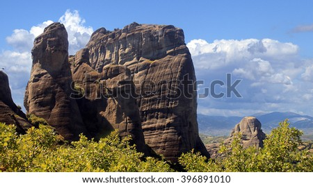 Beautiful Meteora cliffs, Greece - stock photo