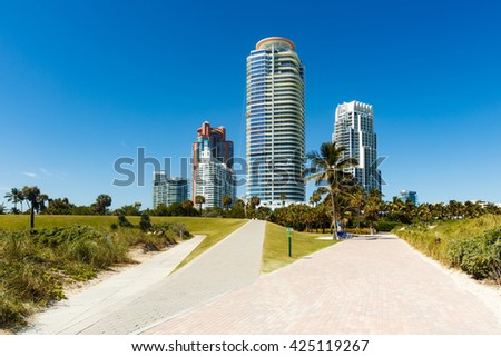Beautiful Miami Beach cityscape along South Pointe Park.