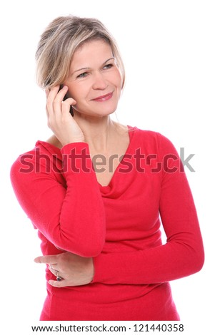 Beautiful mid aged blonde with brush in hands - stock photo