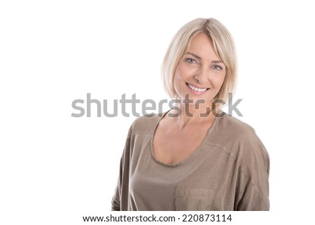 Beautiful middle aged blond attractive isolated woman smiling with white teeth. - stock photo
