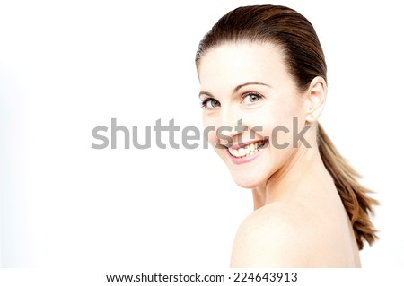 Beautiful middle aged woman face with clean skin