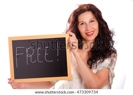 beautiful middle-aged woman holding black chalkboard with handwritten text, free,  isolated on white