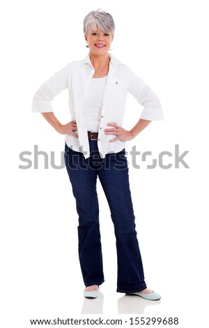 beautiful middle aged woman in casual clothes isolated on white background - stock photo