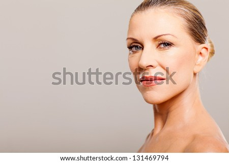 beautiful middle aged woman portrait close up - stock photo