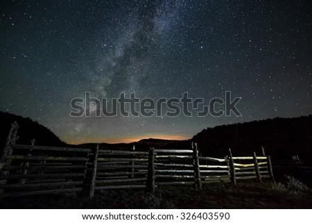 Beautiful milky way in the dark night - stock photo
