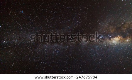 beautiful milkyway on a night sky  - stock photo