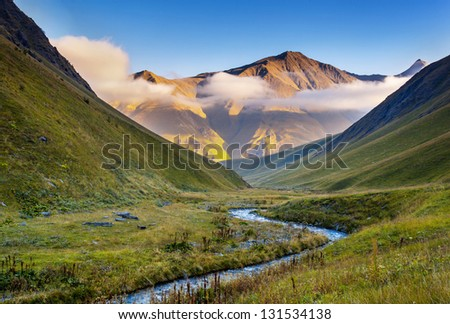 Beautiful mist landscapes with high mountains of Georgia, Europe. Caucasus mountains. Beauty world. - stock photo
