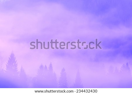 Beautiful misty morning in mountains - stock photo