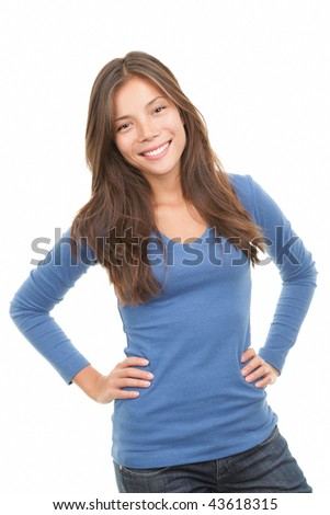 Beautiful mixed race chinese / caucasian woman posing. Isolated on white background. - stock photo