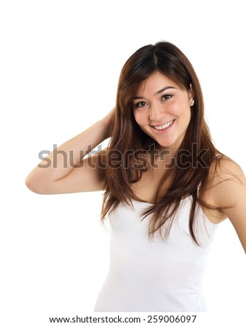 Beautiful mixed race girl posing on white background
