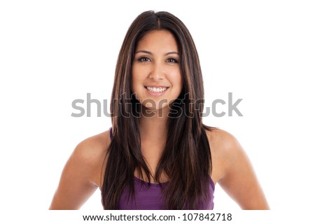 Beautiful mixed race Mexican and Japanese woman portrait isolated on white - stock photo