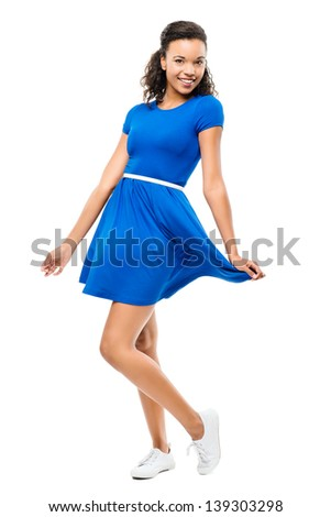 Beautiful mixed race woman sexy blue dress isolated on white background - stock photo
