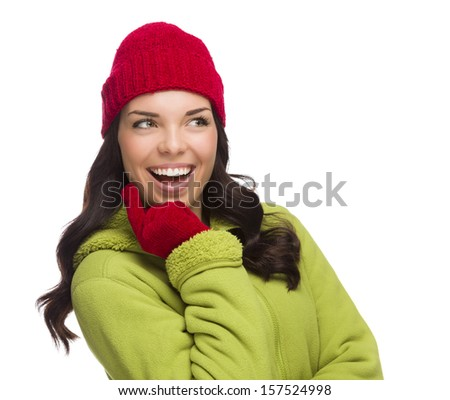 Beautiful Mixed Race Woman Wearing Winter Hat and Gloves Isolated on a White Background.