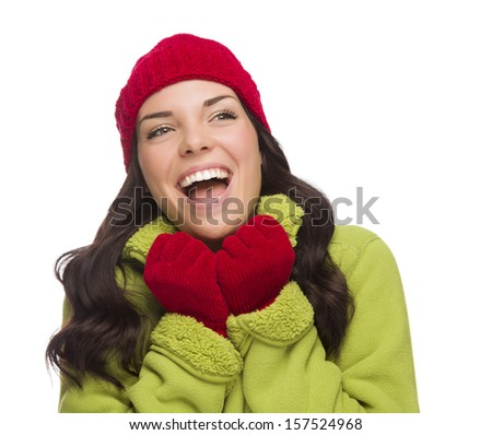 Beautiful Mixed Race Woman Wearing Winter Hat and Gloves Looking to the Side Isolated on a White Background.
