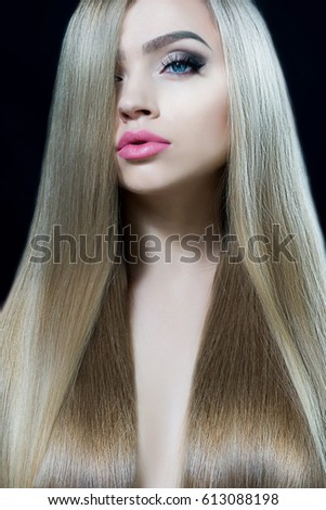 fashion blond girl beautiful makeup healthy stock photo