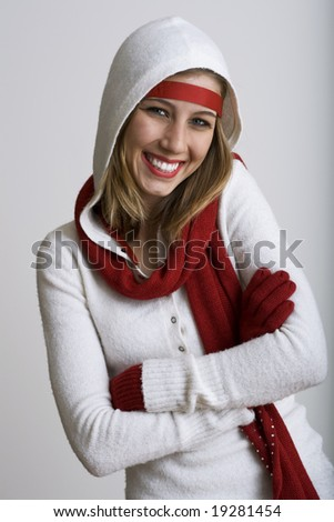 Beautiful model grinning dressed for the holidays