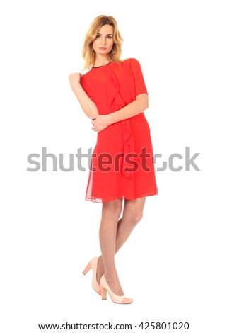 Beautiful model in dress isolated