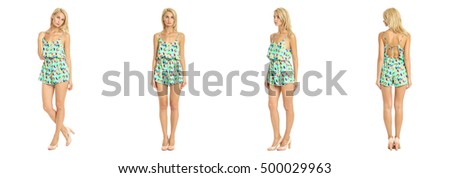 Beautiful model  isolated on white wearing turquoise overall