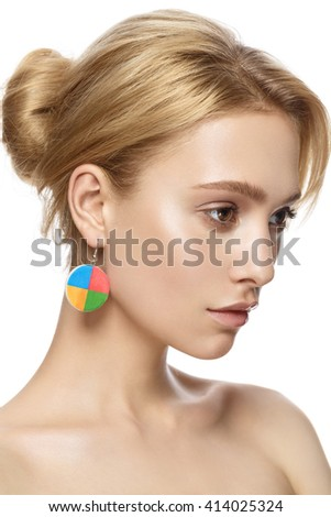 beautiful model lady with natural make-up and blonde hair studio fashion shot on white background, perfect skin - stock photo