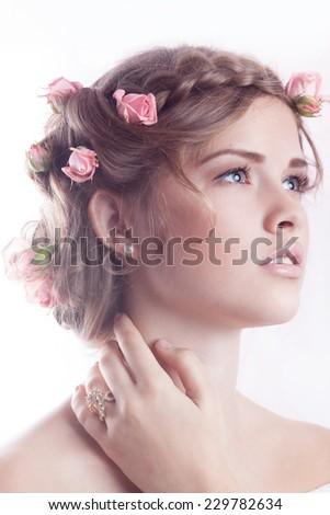 Beautiful model posing with jewellry - stock photo