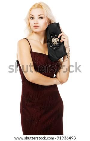 Beautiful model studio portrait, white background - stock photo