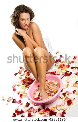 Beautiful model taking SPA procedures - stock photo